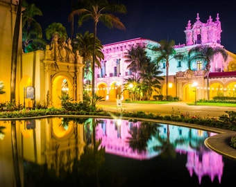 The El Prado Restaurant and Lily Pond at night in Balboa Park, San Diego, California.   Photo Print, Stretched Canvas, or Metal Print.