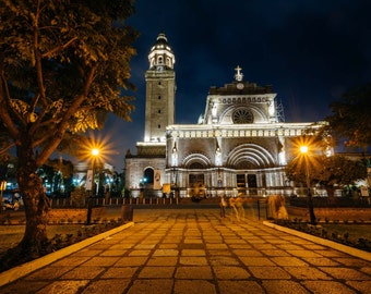 The Manila Cathedral at night, in Intramuros, Manila, The Philippines. | Photo Print, Stretched Canvas, or Metal Print.