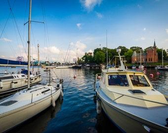 Boats docked at Skeppsholmen, in Norrmalm, Stockholm, Sweden - Photography Fine Art Print or Wrapped Canvas