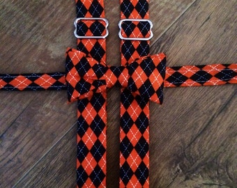 Boys/Toddler Argyle black and orange Print/Bow tie and Suspenders/Perfect for weddings and ring bearers