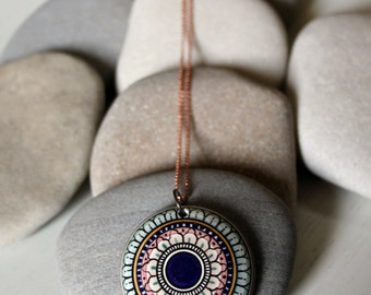 Mandala//Handcrafted Ceramic Jewelry ceramic charm necklace
