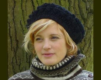 Ladies Knit Beret.  Pure Wool Beret.  Ladies Wool Hat. Handmade Hat. Black Knit Hat.  Winter Hat. Unique Style Black Hat.
