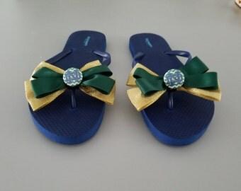 Notre Dame flip flops in green gold fighting irish