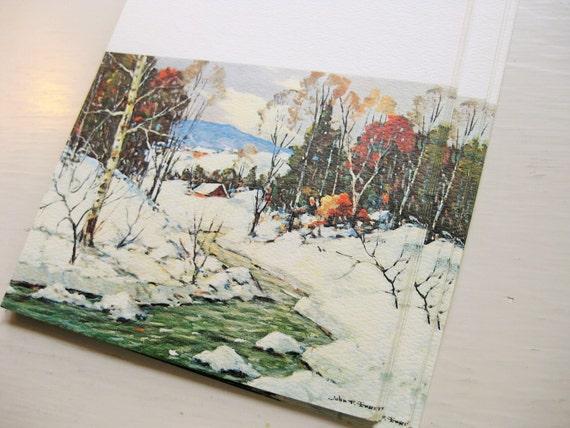 "12 vintage Christmas cards ""First Snow"" by artist John F. Enser. ArtCard No.750. NO ENVELOPES"