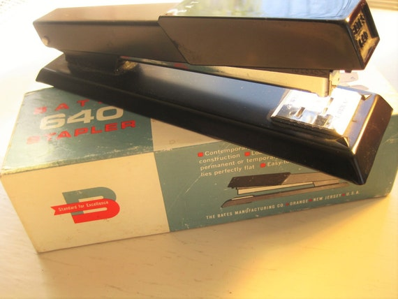 Vintage Bates 640 Stapler in original box. Sleek and black. Vintage office. Desk accessory.
