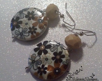 Brown Flower and Tan Beaded Earrings No.946