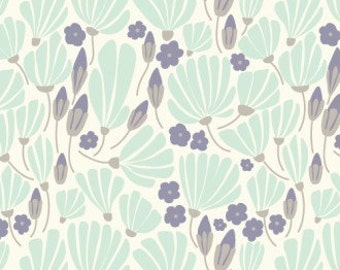 Organic Cotton Breezy Floral - Turquoise - Morning Song - Cloud 9 Fabrics - 1 yd