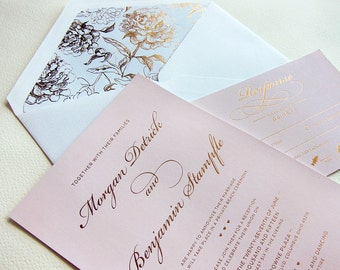 Rose Gold Foil Wedding Invitation - DEPOSIT