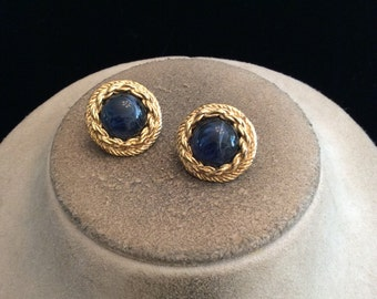 Vintage Goldtone & Blue Glass Pierced Earrings