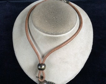 Vintage Chunky Brown Corded Goldtone Pendant Necklace