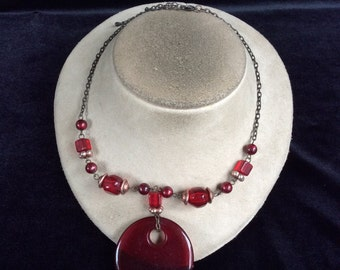 Vintage Deep Red Plastic & Glass Beaded Pendant Necklace