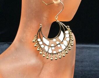 Vintage Large White Enameled Dangle Earrings