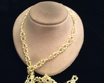 Vintage Long Pale Yellow & White Glass Beaded Necklace