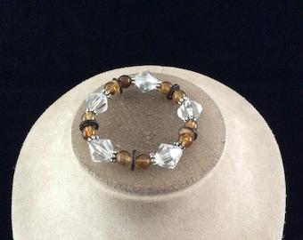 Vintage Clear & Brown Beaded Bracelet