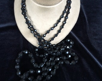 Vintage Long Double Stranded Black Plastic Beaded Necklace