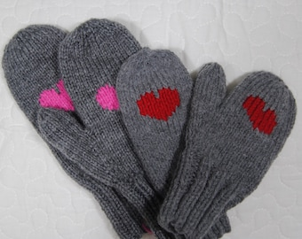 Custom heart mittens - toddler to adult sizes