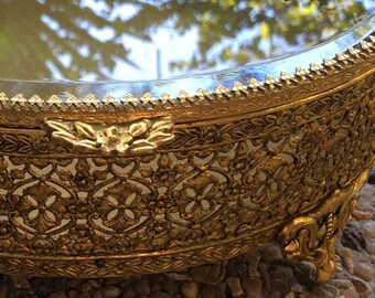 Gold Jewelry Box | Large Oval Jewelry Casket Ornate Brass Gold Gilt