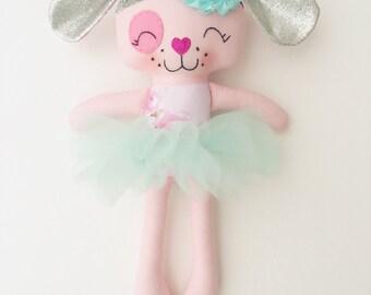 Puppy doll - fabric doll  - handmade doll - rag doll - girls room decor - girls toy - dress up doll - cloth doll - dog doll - plush puppy