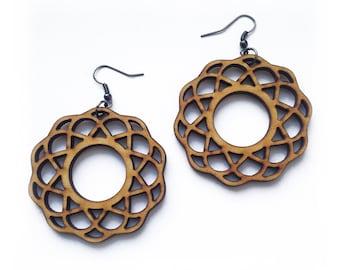Hoops - Wooden Earrings, Laser Cut Jewelry, Hoop Earrings, Sacred Geometry, Wooden Jewelry, Rounded Hoops, Wooden Hoops