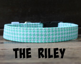 """Dog Collar in Mint Houndstooth for Boy/Girl Dog, """"The RIley"""" by Bullenbeisser"""