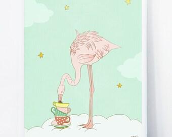 Flamingo Tea Time - Sweet Illustration for Nursery