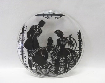 Vintage 1930's Victorian Silhouette on Beveled Glass