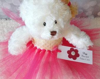 India Inspired Flower Girl Gift, Personalized Flower Girl Lehenga Saree Tutu Teddy Bear w/Custom Colors, Junior Bridesmaid, Wedding Keepsake