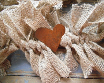 Rustic Wedding Garland, Wedding Garland, Heart Garland,  Burlap Garland, Rustic Garland, Rustic Wedding Decor, Primitive Garland, Burlap