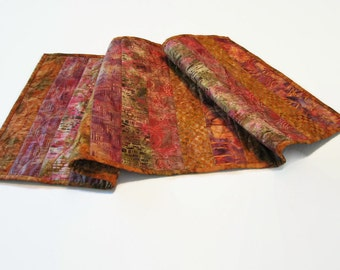Quilted Batik Table Runner, Copper and Rose
