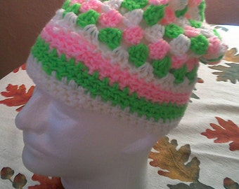 Granny Slouch Hat - Peppermint Stripes