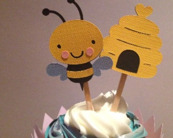 Bumble Bee and Hive Cupcake Topper