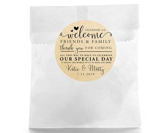 Wedding Favor Stickers - Personalized Wedding Favor Labels - Rustic Design Favor Labels - Wedding Favor Labels - Wedding Welcome