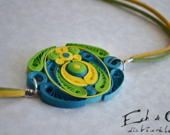 Green turqoise yellow paper quilled eco-friendly necklace