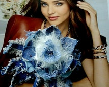 Textile brooch  blue , fiber brooch flower -Textile jewelry /Blue Denim Brooch/Jeans Brooch/Textile Brooch