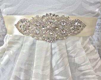 Bridal Sash Ivory, Wedding Sash Ivory, Ivory Wedding Sash, Rhinestone Wedding Belt, Wedding Dress Sash, Bridal Sash, Ivory Sash, Bridal Belt