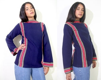 Vintage 70s Navy Blue Folk Sweater Tunic Bell Sleeve Red Yellow Folk Trim Hippie