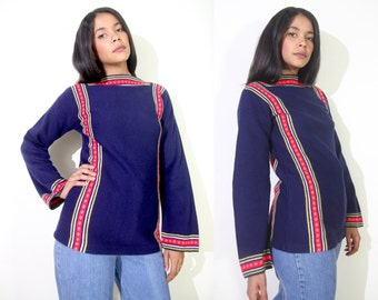 Vintage 70s Navy Blue Folk Sweater Tunic Bell Sleeve Red Yellow Folk Trim Hippie