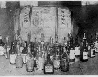 Confiscated Bottles of Whiskey 1920s -Prohibition Era - Photo Print