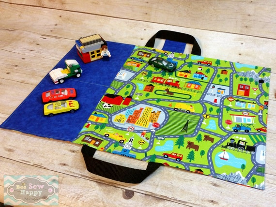 Sew A Toy Car Holder : Toy car caddy play mat carrier by beesewhappyboutique