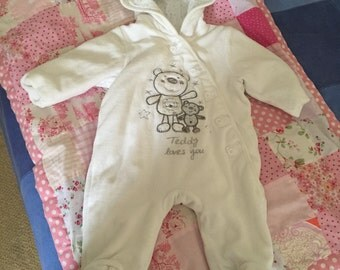 White snowsuit for baby 0 3months