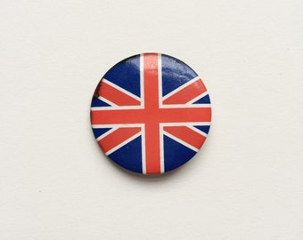 Vintage 1970s Union Jack flag badge pin - England, Great Britain, patriotic, football casual, patriotic, sport, political, skinhead