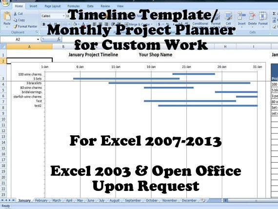 Timeline template monthly project planner for custom work for Customizing project templates