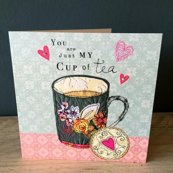 Tea Love-Greeting Card- handfinished