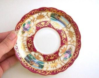 Vintage Ring Dish, Floral Ring Dish, Flower Ring Dish, Burgundy Ring Dish, Red Ring Dish, Maroon Ring Dish, Ring Dish, Jewelry Dish, Trinket