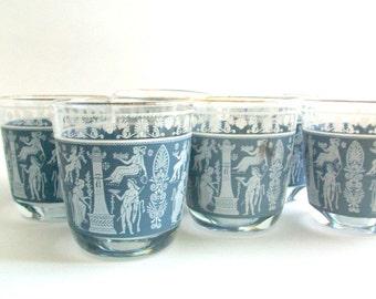 Jeanette Glass, Hellenic Glasses Wedgwood Jasperware Blue Greek Roman Glasses, Vintage Glassware, Vintage Barware, Vintage Glasses, Set of 6