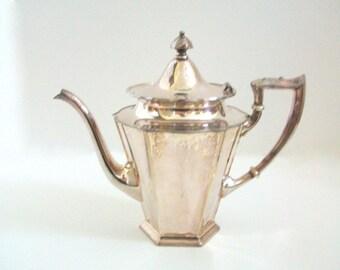 Silver Teapot, Silver Plate Teapot, Meriden Teapot, Silver Meriden Teapot, Coffee Pot, Silver Coffee Pot, Silver Tea Service, Vintage Teapot