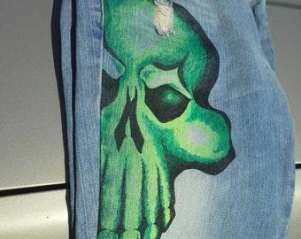 Green Skull Jeans