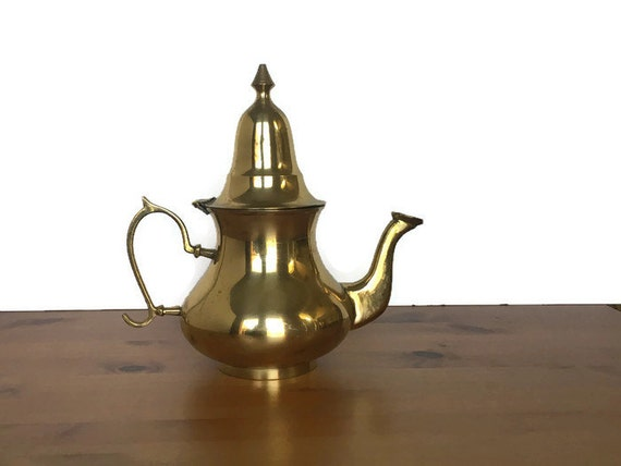 Vintage brass teapot metal urn style water pot hinge lid gold decor