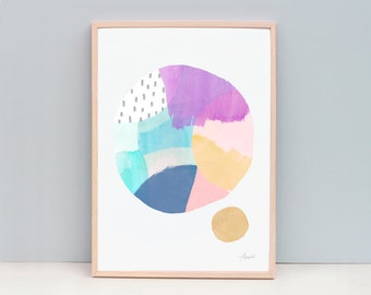 Contemporary Art Print, Circle Art, Modern Abstract Painting, Watercolor Wall Art, Watercolor Art Print, Art Print - Prismatic