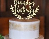 Personalized wedding cake topper, custom cake topper, rustic wedding cake topper, names cake topper